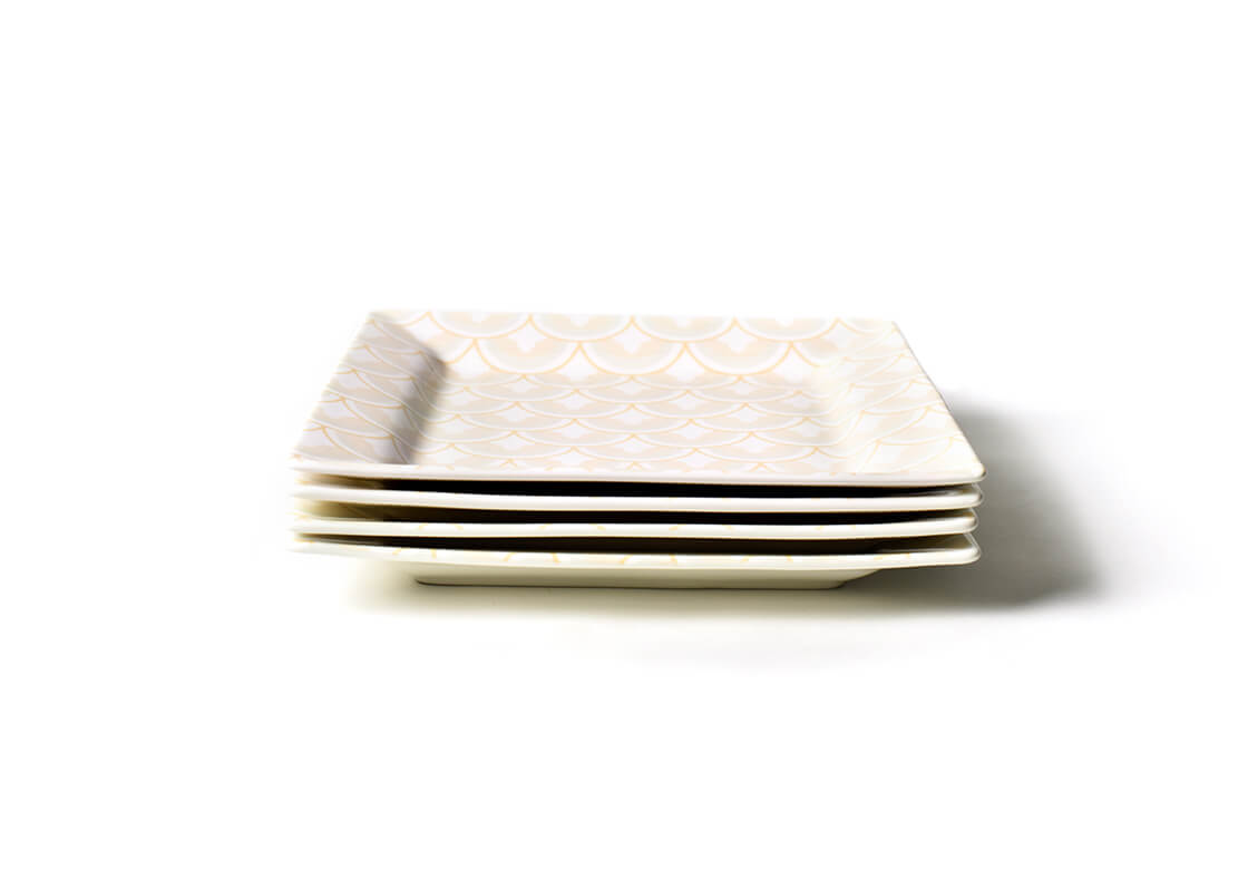 Blush Layered Arabesque Square Platter, Set of 4