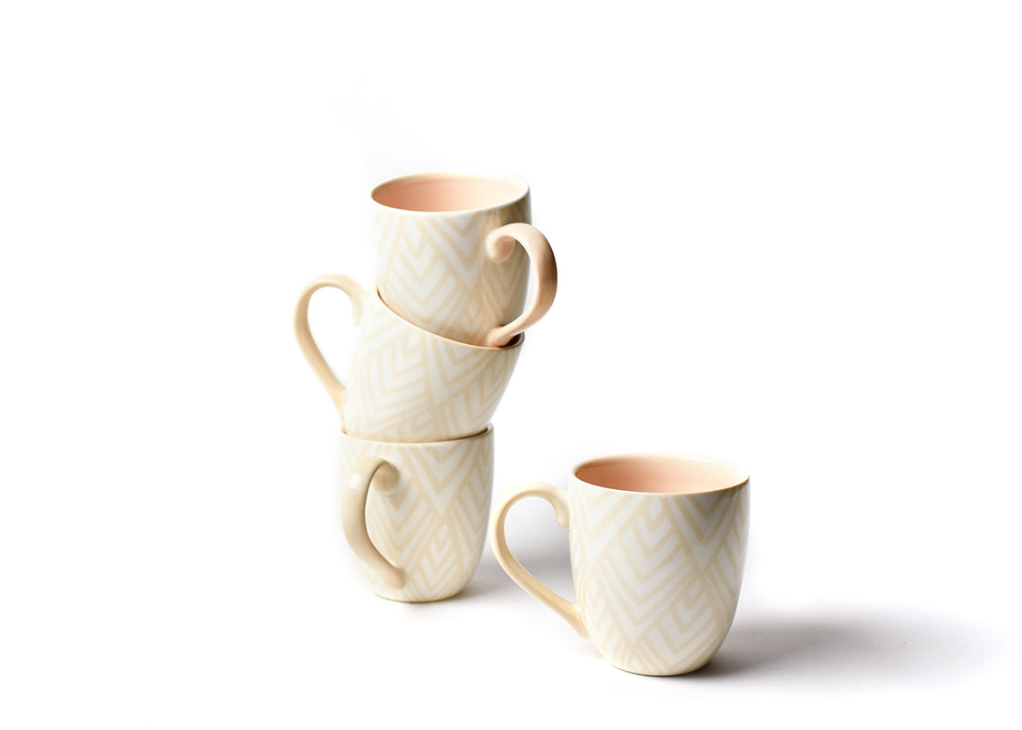 Blush Layered Diamond Mug, Set of 4
