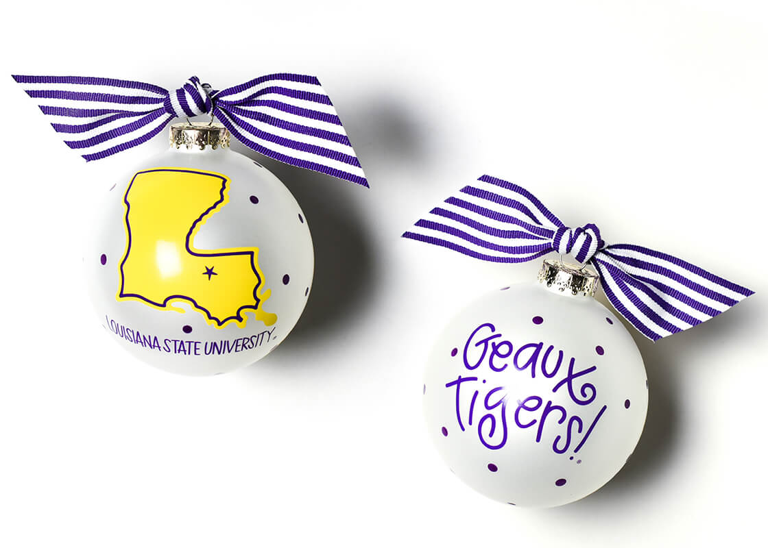 Louisiana State University State Glass Ornament