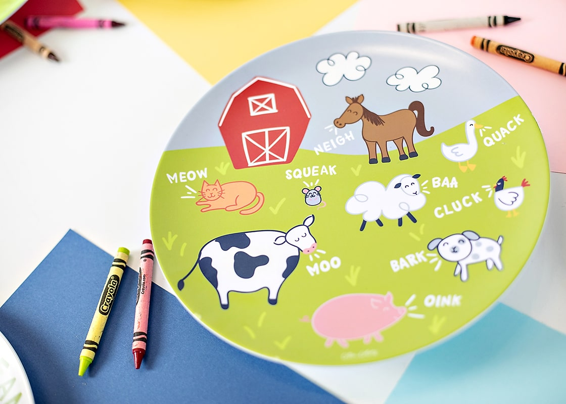 On The Farm Animal Sounds Melamine Dinner Plate