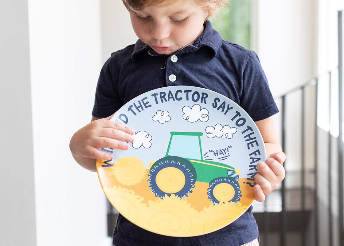 On The Farm Tractor Melamine Dinner Plate