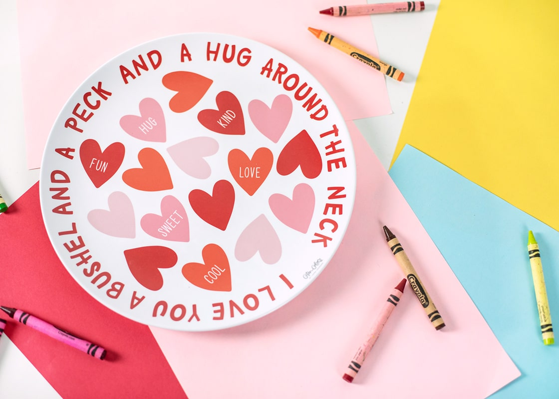 Conversation Hearts Melamine Dinner Plate