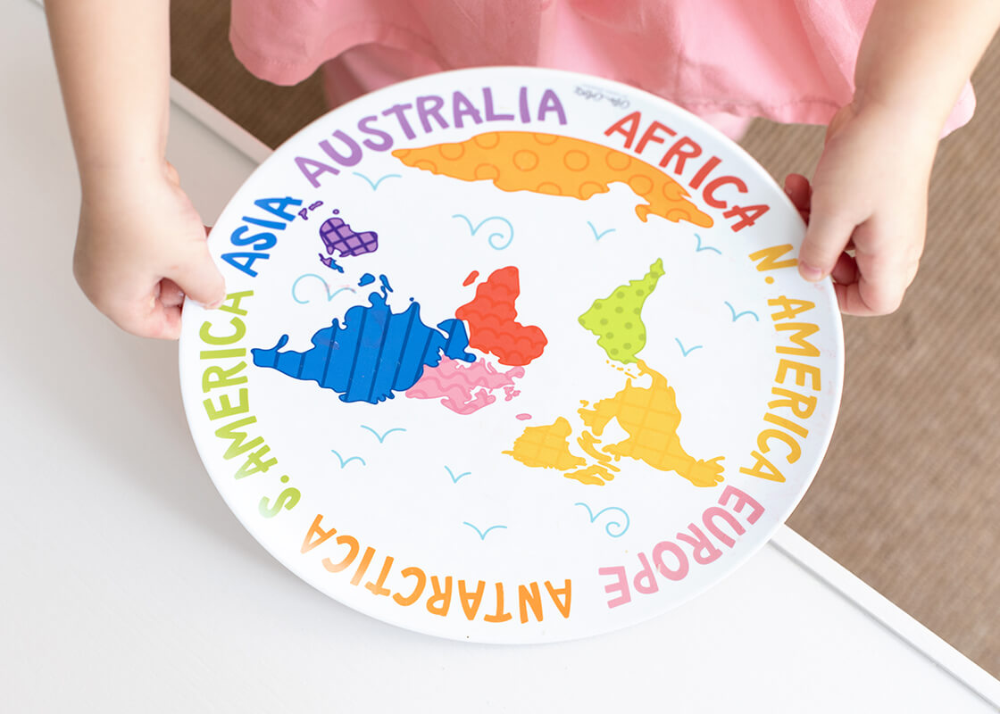 Around The World Map Melamine Dinner Plate