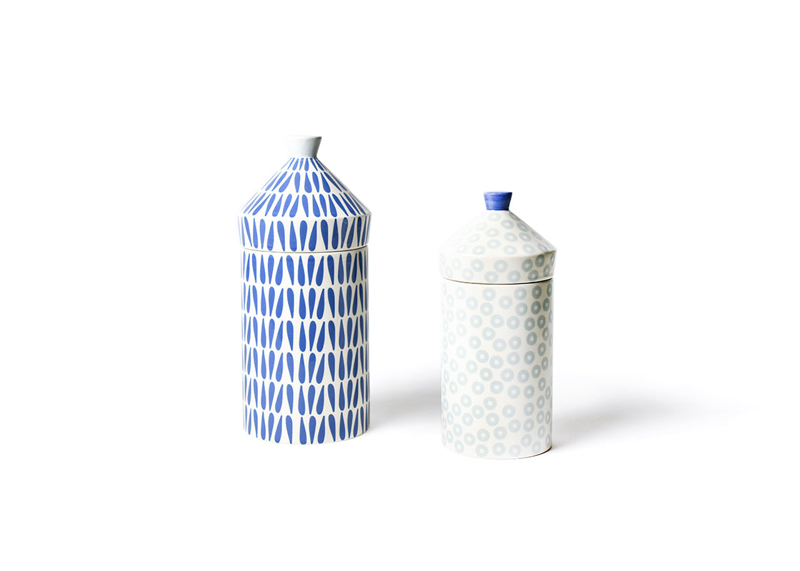 Iris Blue Canisters, Set of 2