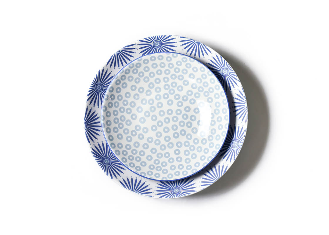 Iris Blue Burst Pip Mix Pasta Bowls, Set of 2