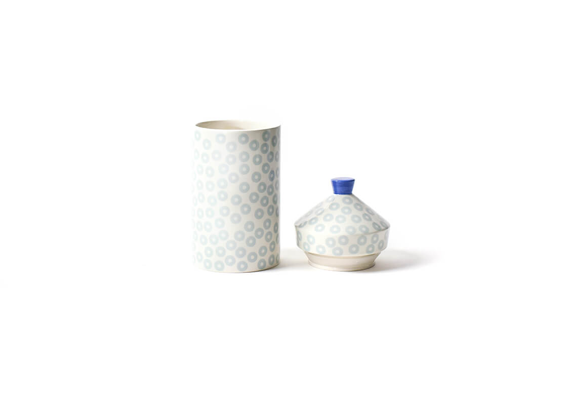 Iris Blue Pip Small Round Canister