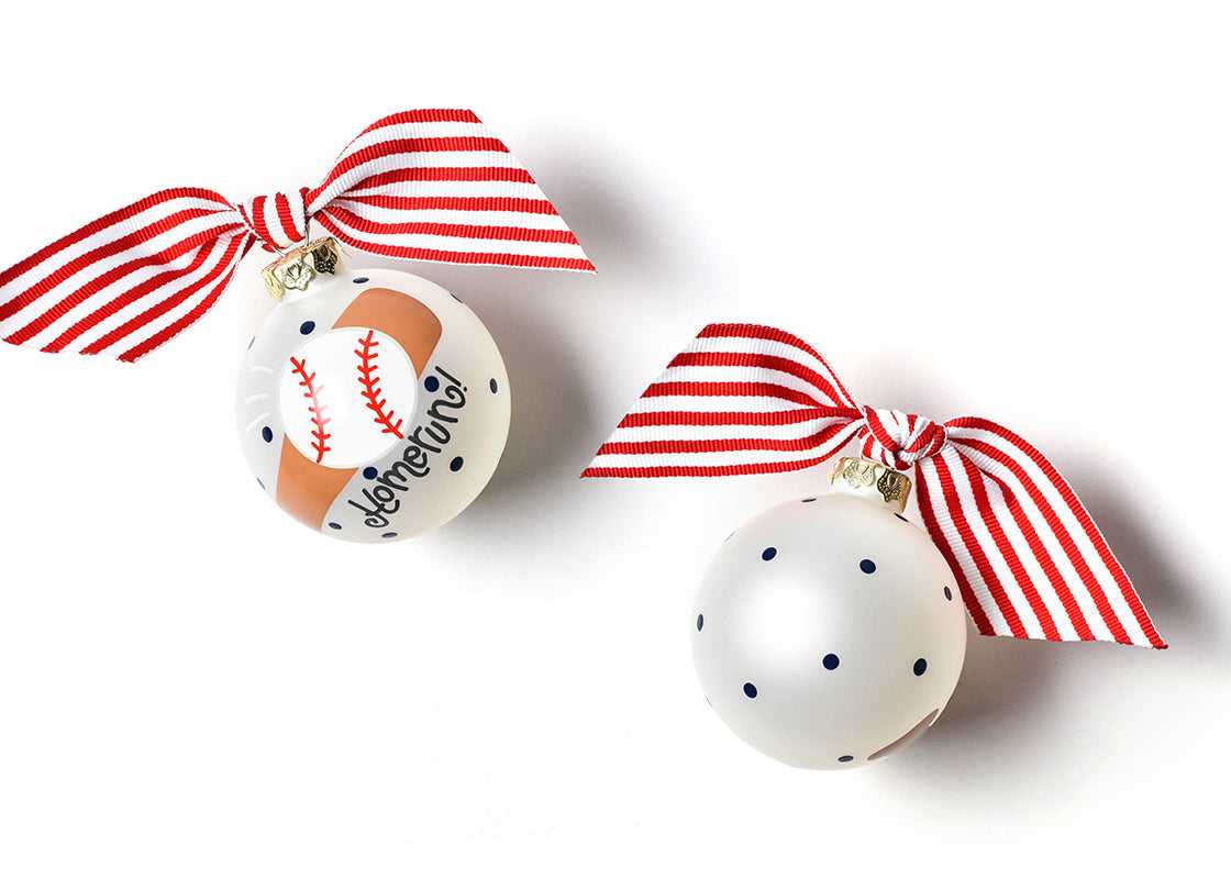 Baseball and Bat Glass Ornament