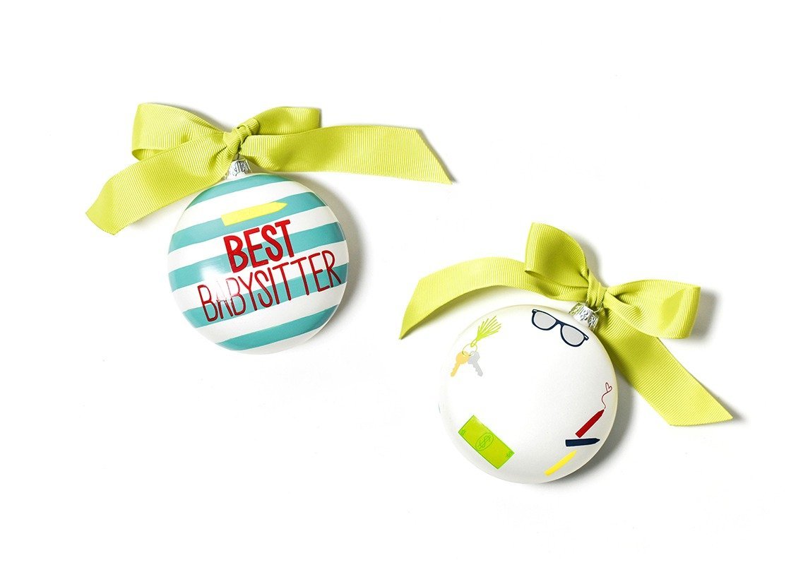 Best Babysitter Stripe Glass Ornament
