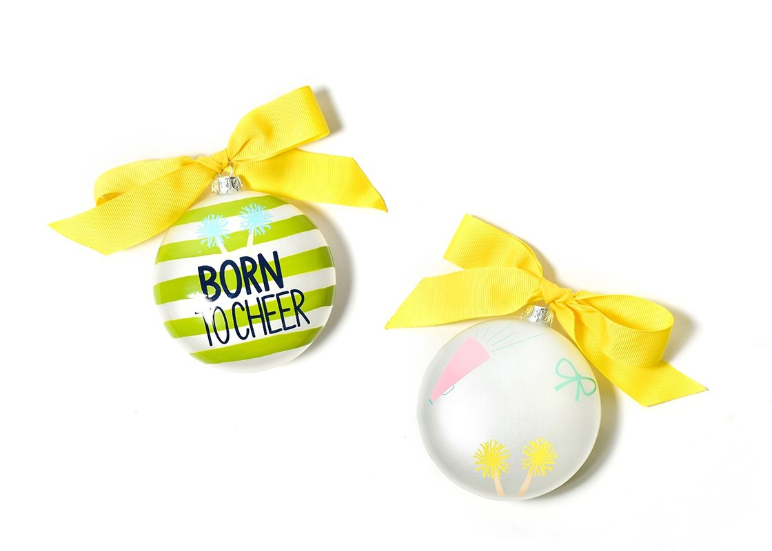 Born To Cheer Stripe Glass Ornament