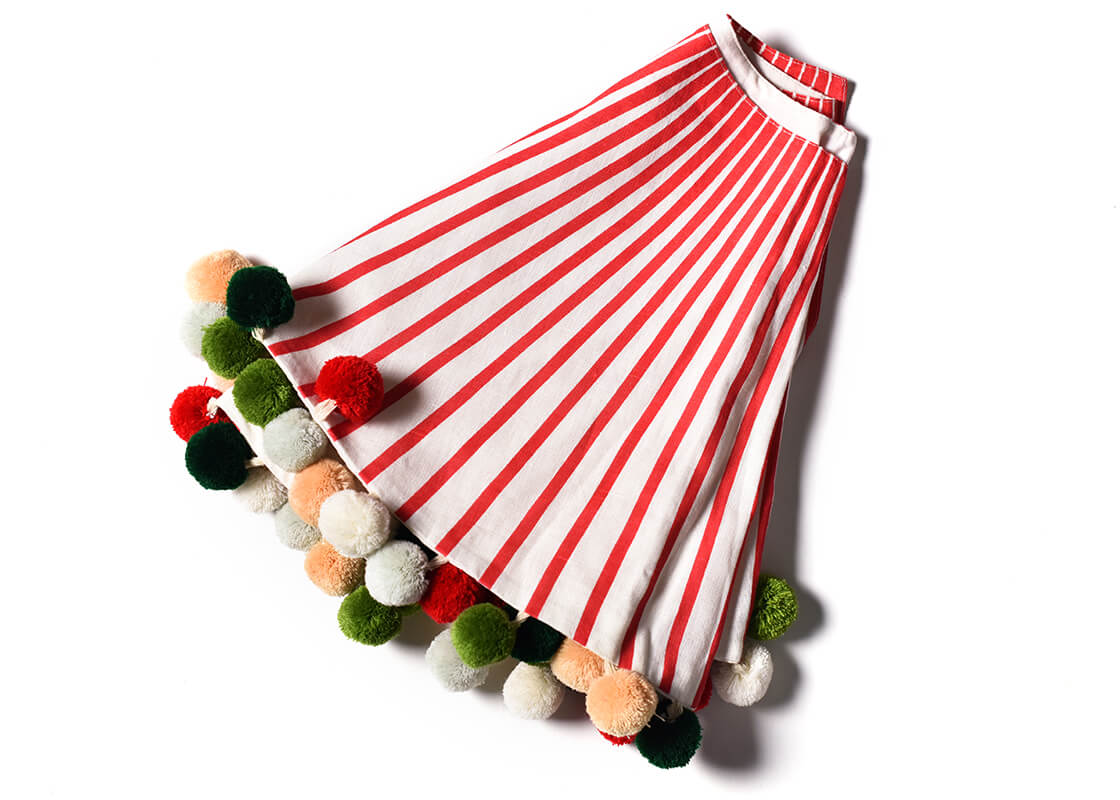 Red Stripe Tree Skirt With Pom Poms