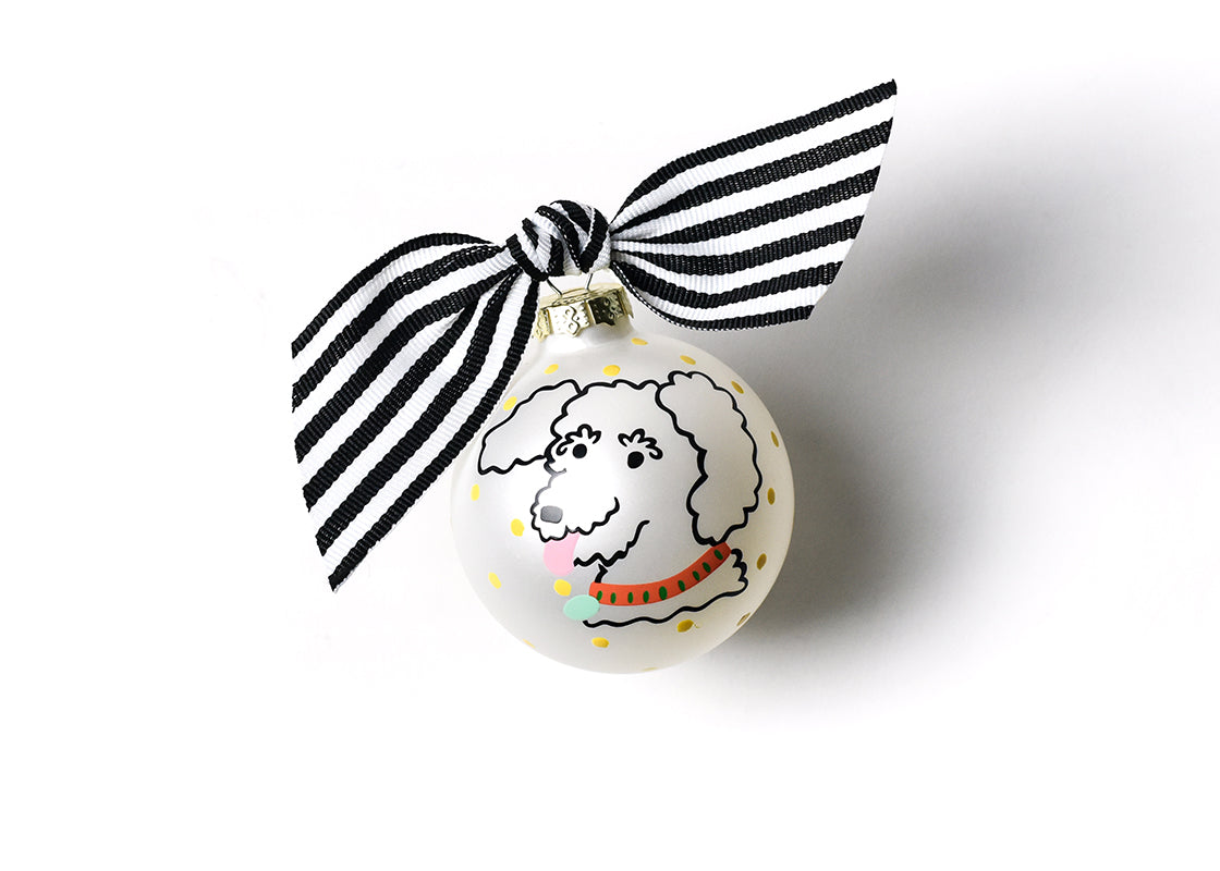 Pet Portrait Glass Ornament - Curly