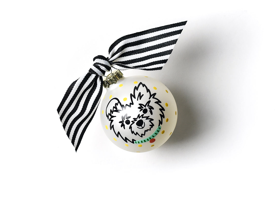 Pet Portrait Glass Ornament - Fluffy