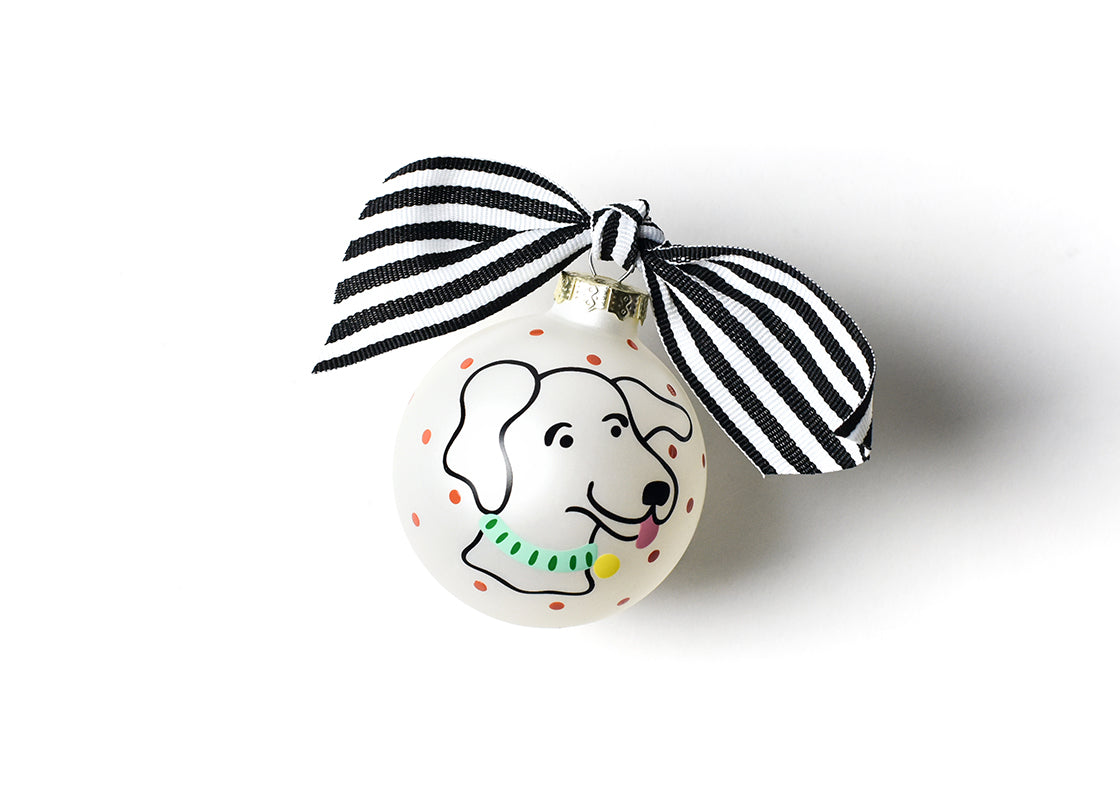 Pet Portrait Glass Ornament - Floppy