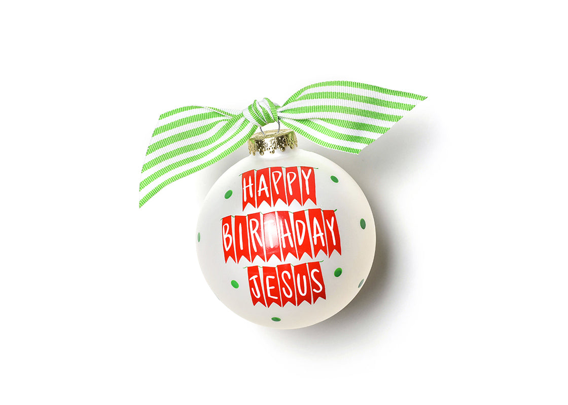 Happy Birthday Jesus Banner Glass Ornament