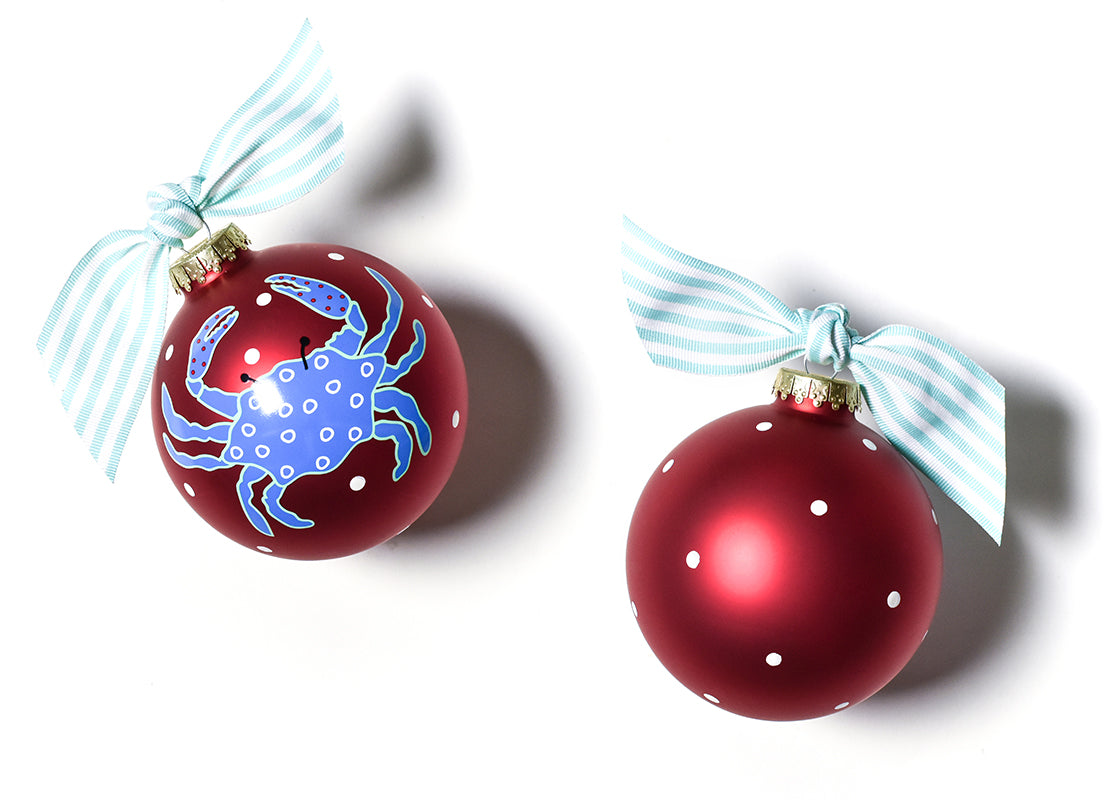 Blue Crab Glass Ornament