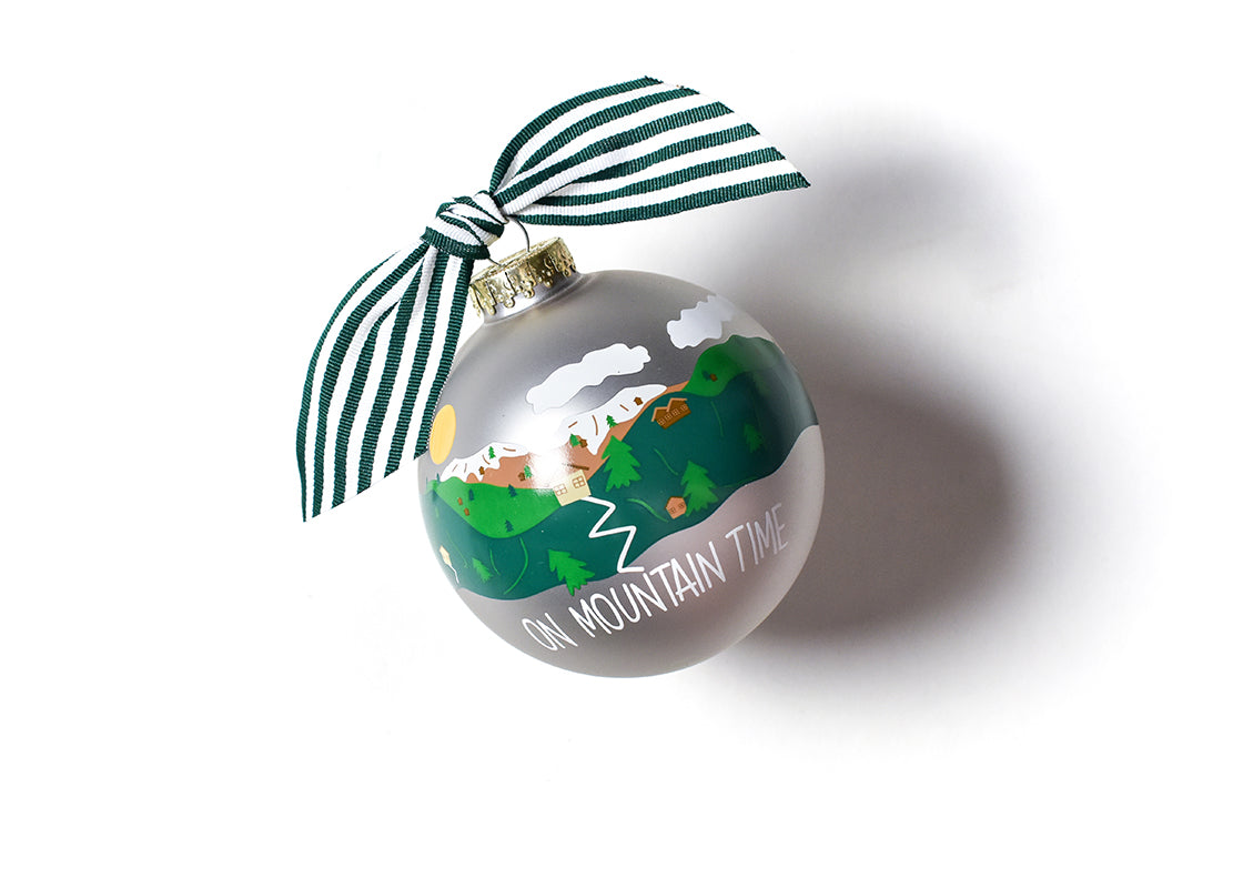On Mountain Time Glass Ornament