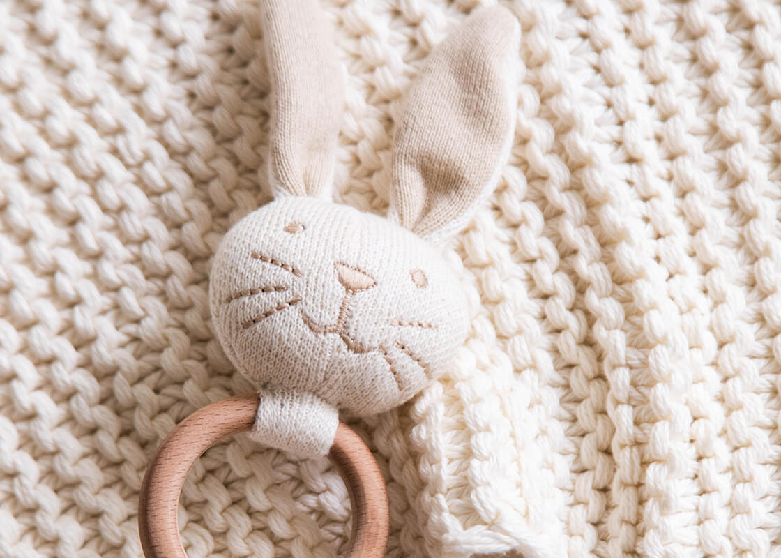 Ecru Bunny Knitted Rattle