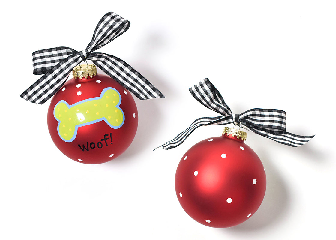 Woof Dog Bone Glass Ornament