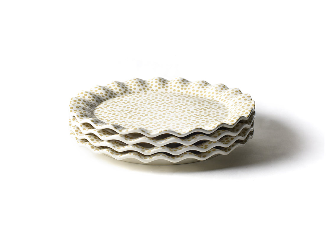 Cobble Small Dot Ruffle Round Platter, Set of 4