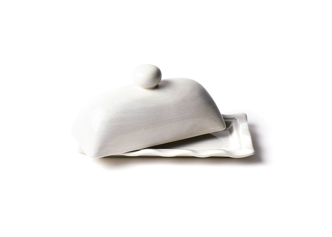 Signature White Ruffle Domed Butter Dish