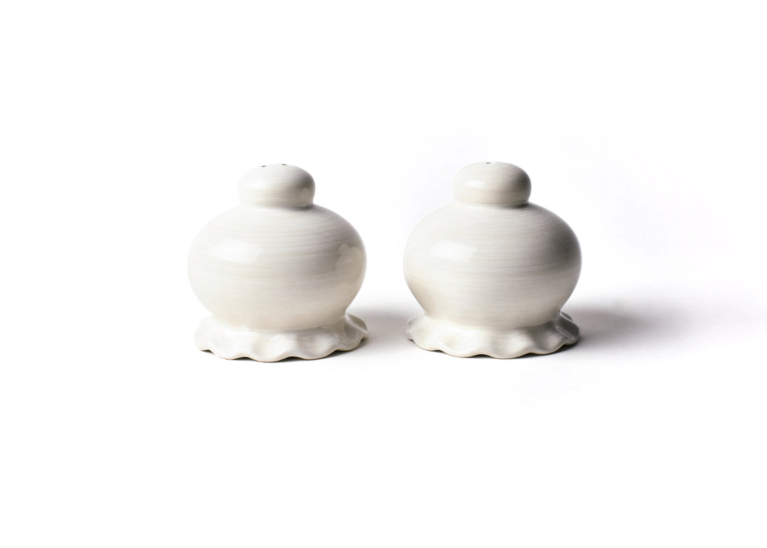Signature White Ruffle Salt and Pepper Shaker Set