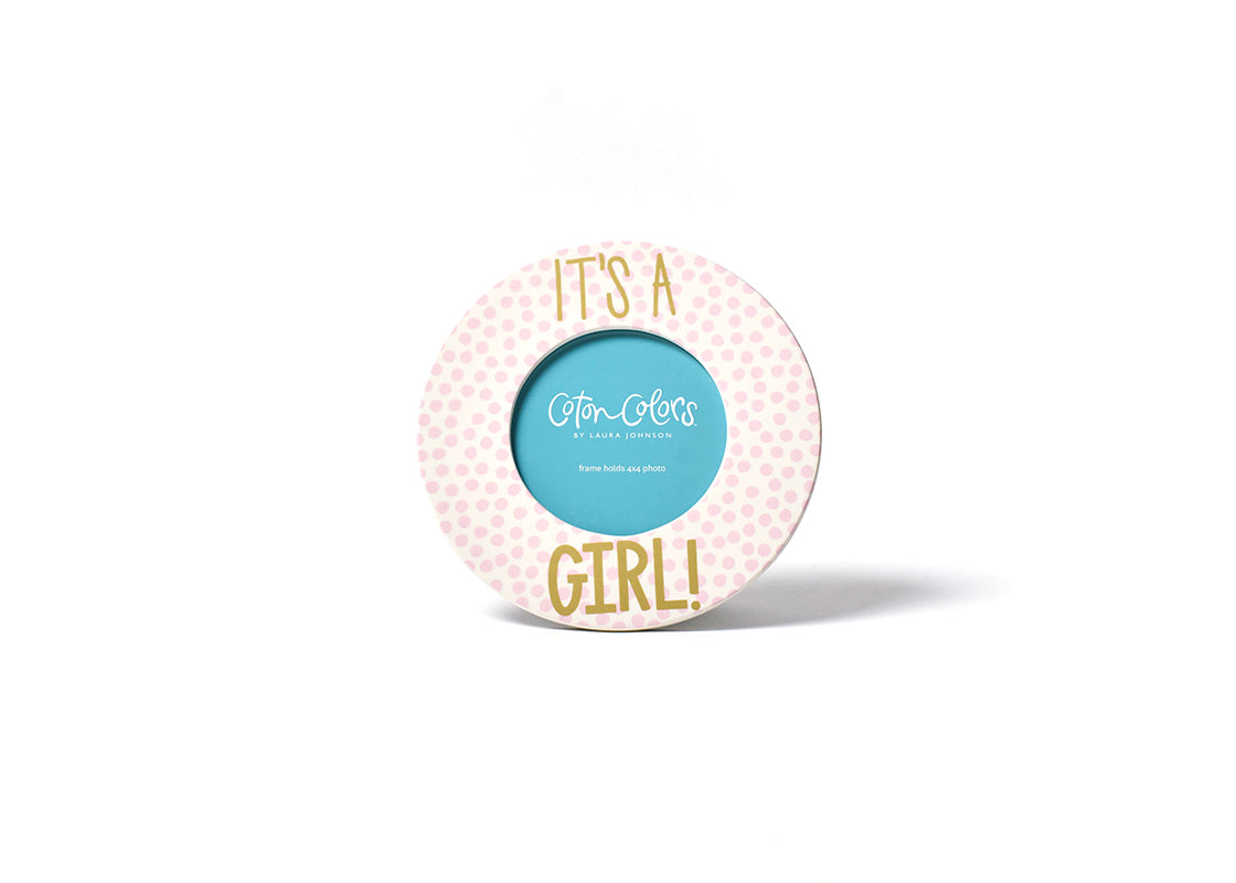 It's A Girl! Small Dot Round Frame