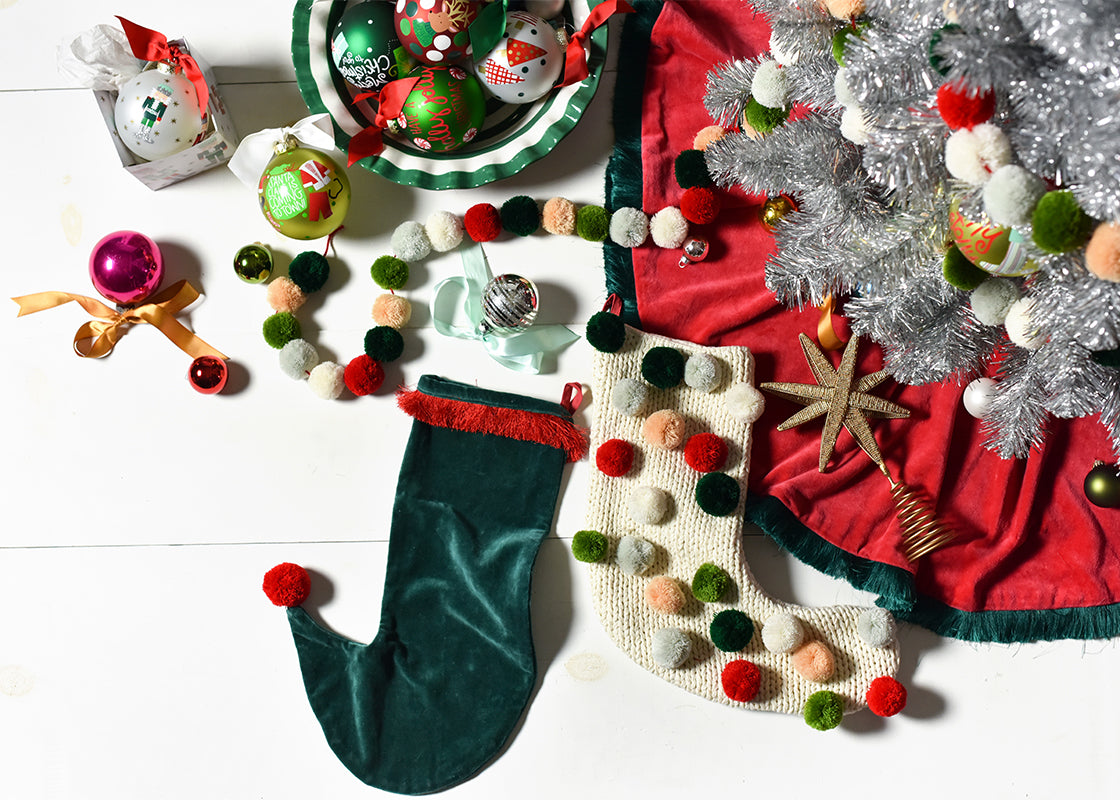 Pine Velvet Stocking With Trim