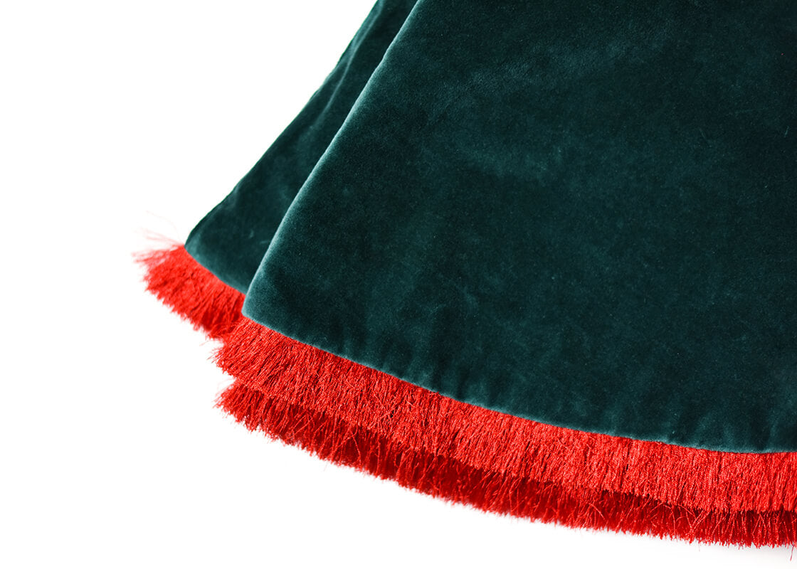 Pine Velvet Tree Skirt With Trim
