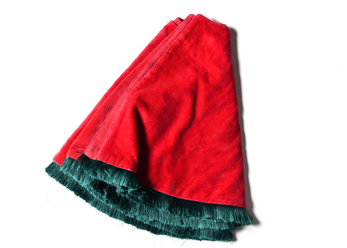 Red Velvet Tree Skirt With Trim