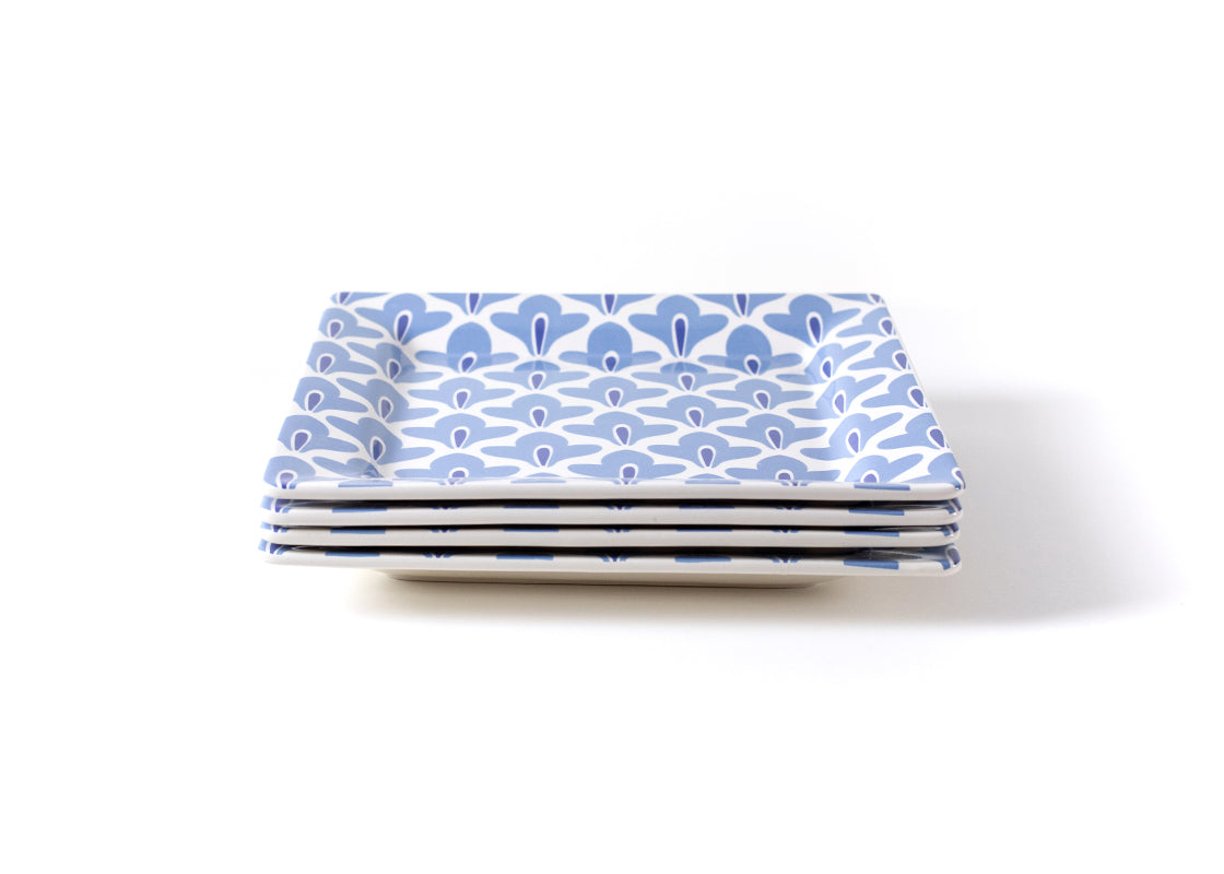 Iris Blue Sprout Square Platter, Set of 4