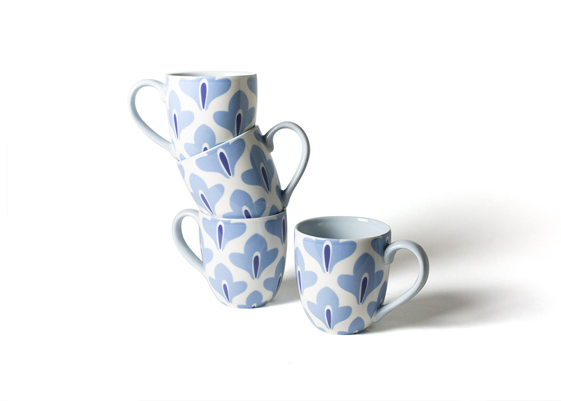 Iris Blue Sprout Mug, Set of 4