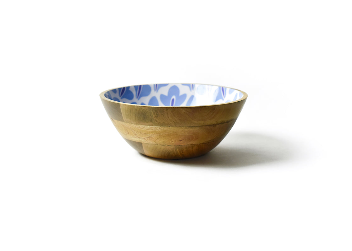 Iris Blue Sprout Mango Wood Footed Bowl