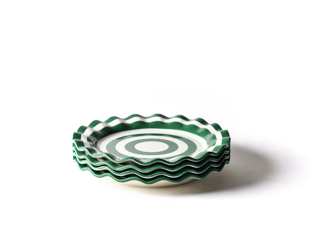 Emerald Spot On Ruffle Dinner Plate, Set of 4