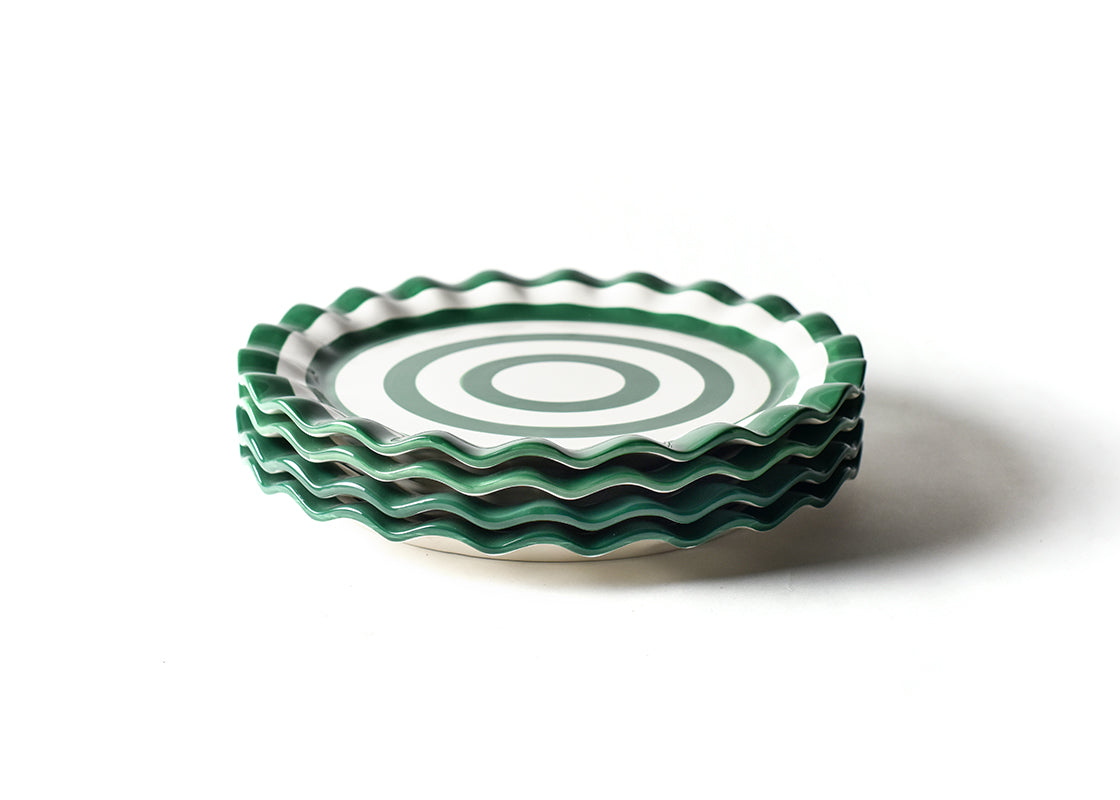 Emerald Spot On Ruffle Round Platter, Set of 4