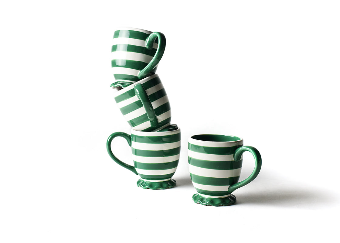 Emerald Spot On Ruffle Mug, Set of 4