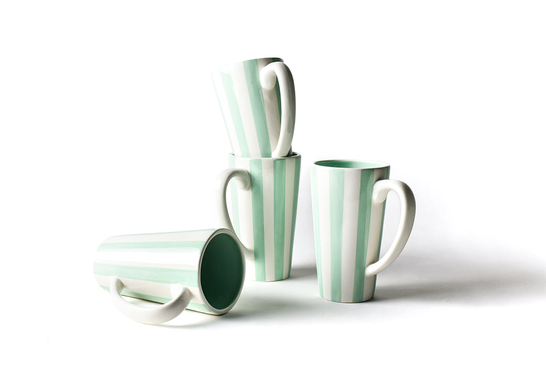 Mint Stripe Mug, Set of 4