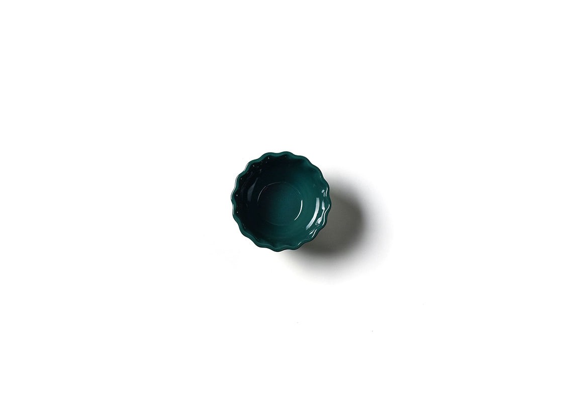 Emerald Stripe Ruffle Appetizer Bowl