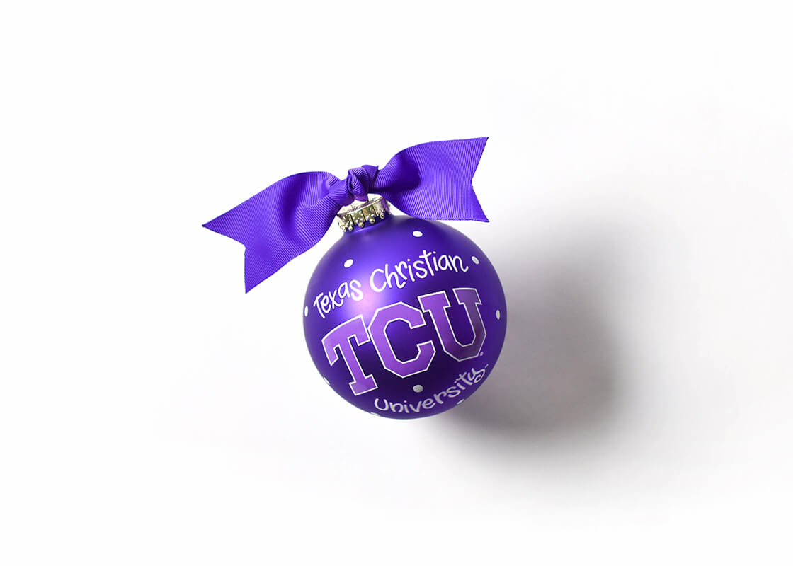 Texas Christian Logo Glass Ornament