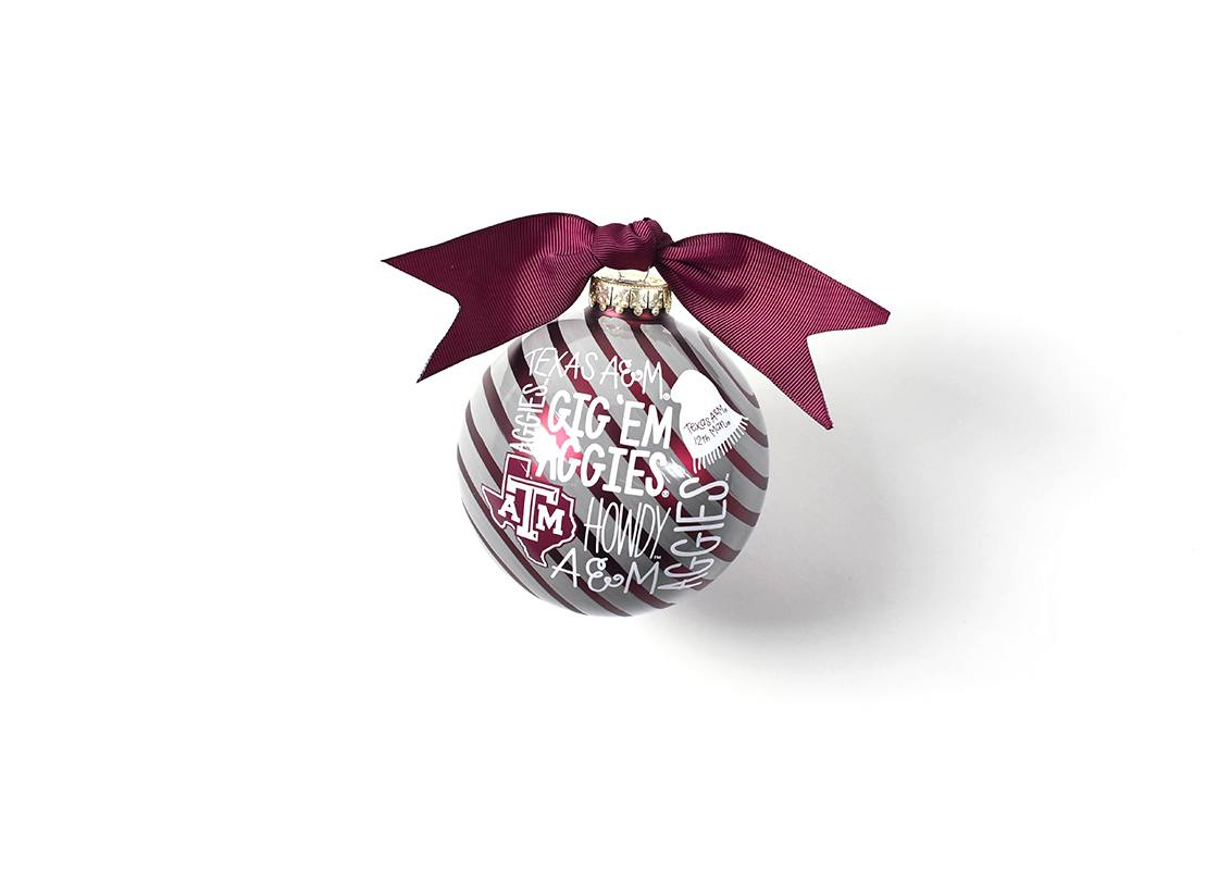 Texas A&m Word Collage Glass Ornament