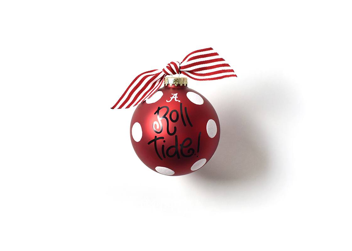 Alabama Glitter Dot Glass Ornament
