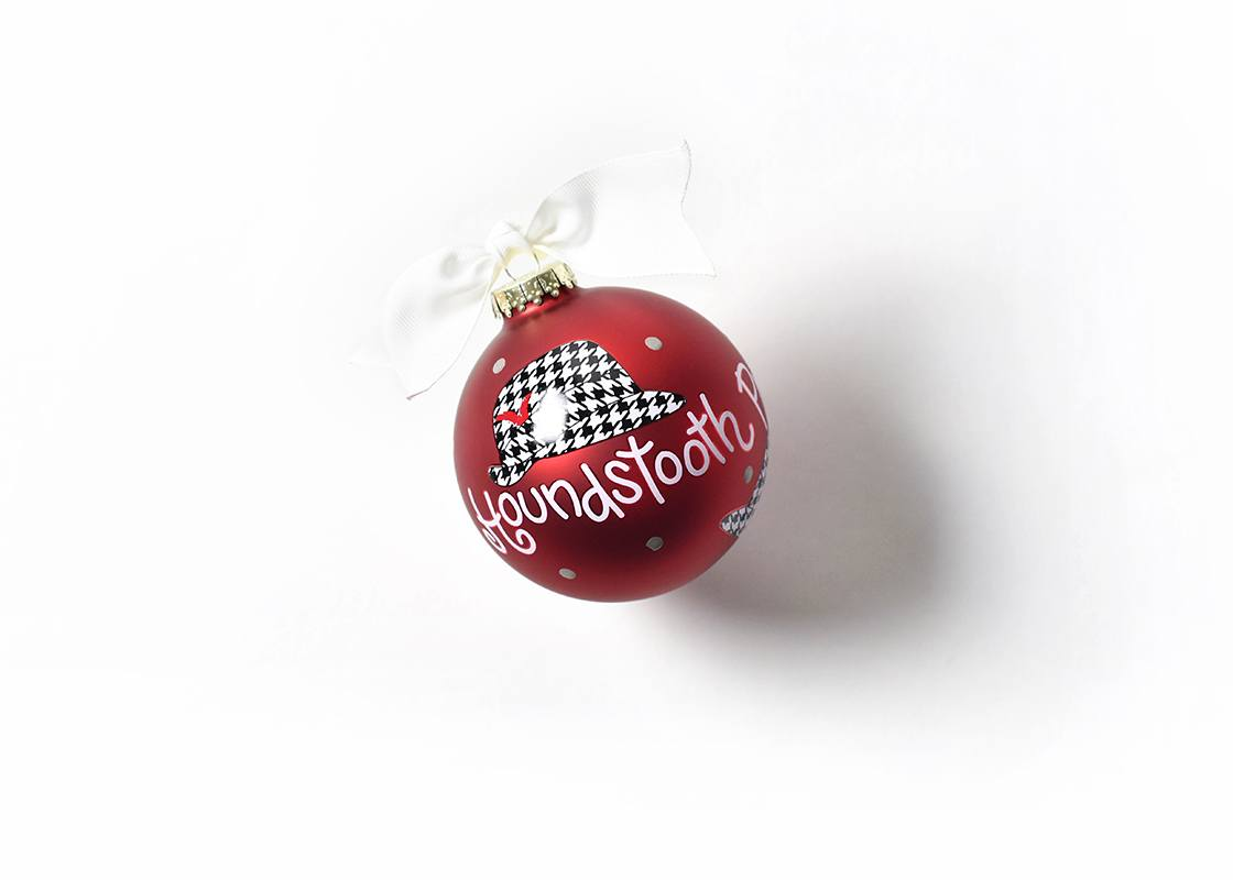 Alabama Houndstooth Hat Glass Ornament