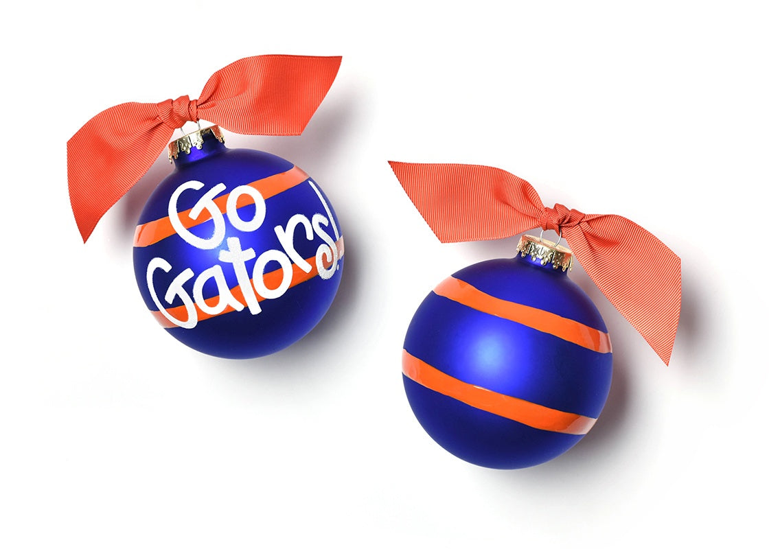 University of Florida Stripe Glass Ornament