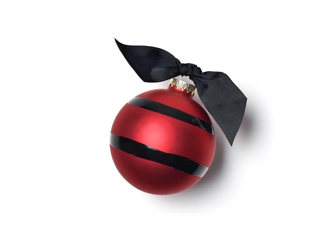 University of Georgia Stripe Glass Ornament
