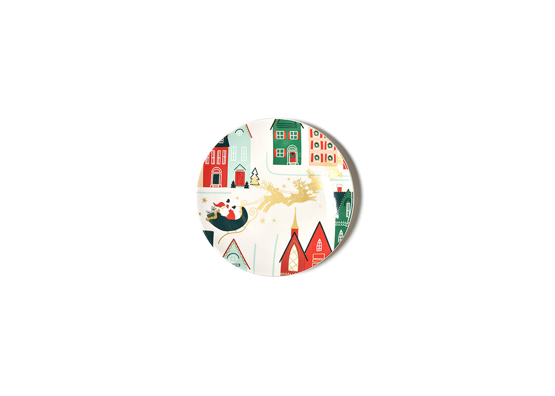 Vintage Christmas Village Salad Plate