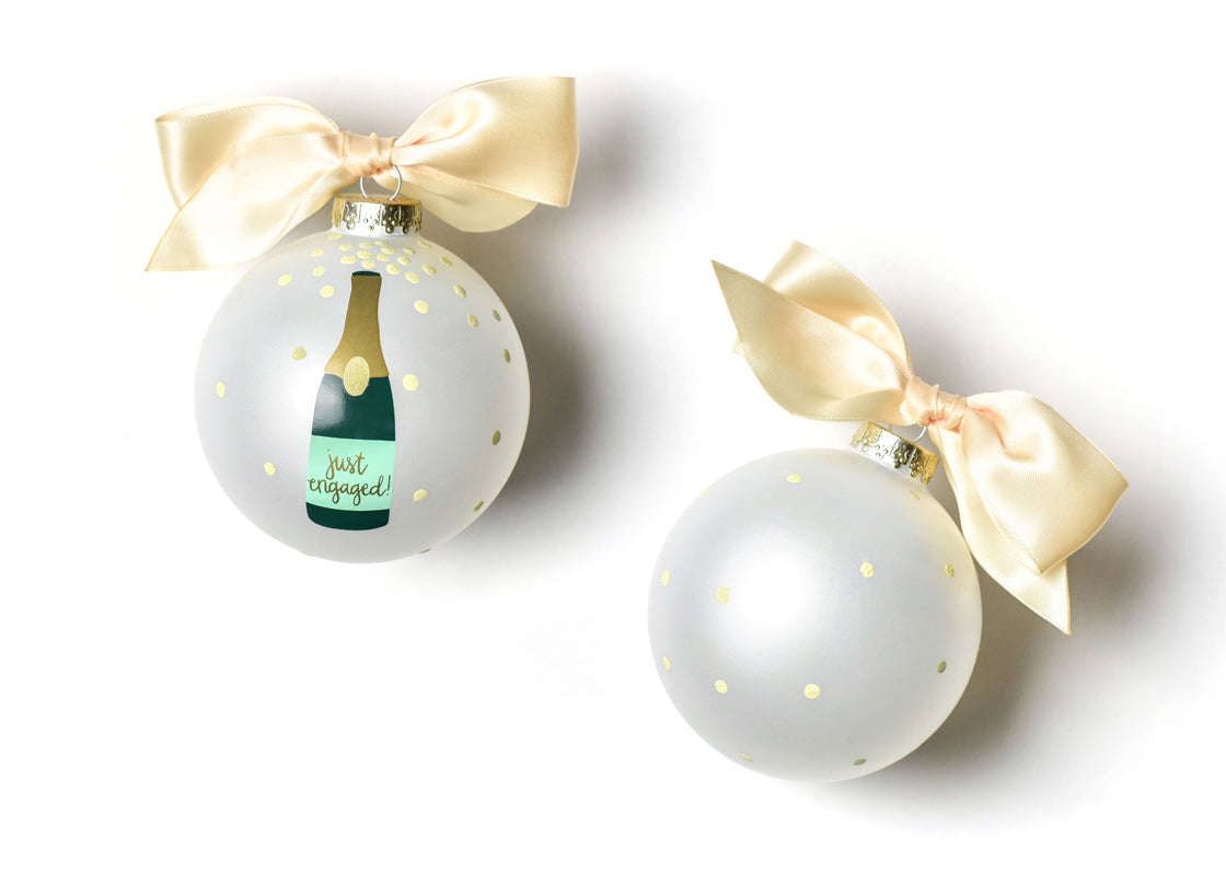 Just Engaged Champagne Pop Glass Ornament