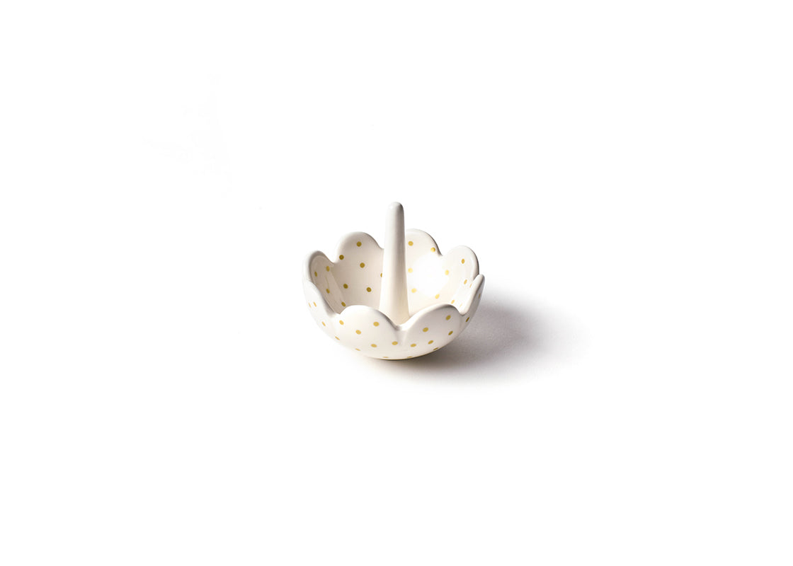 Gold Swiss Dot Scallop Ring Dish
