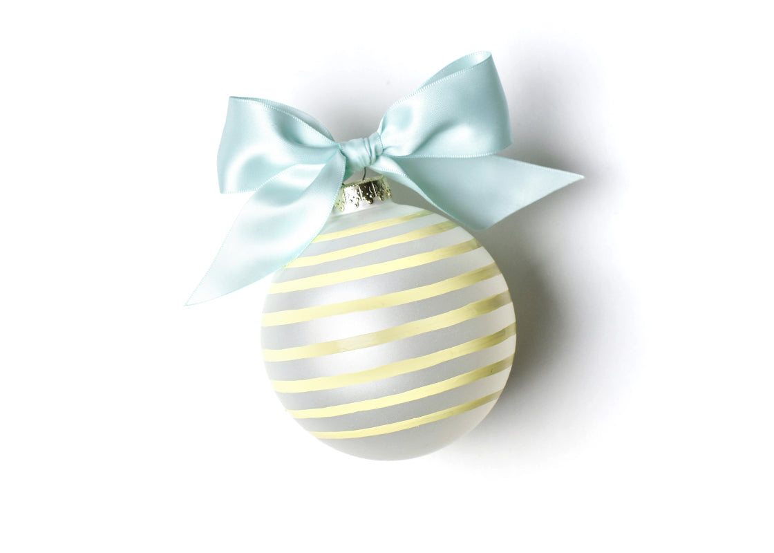Stripe Mother of the Bride Glass Ornament
