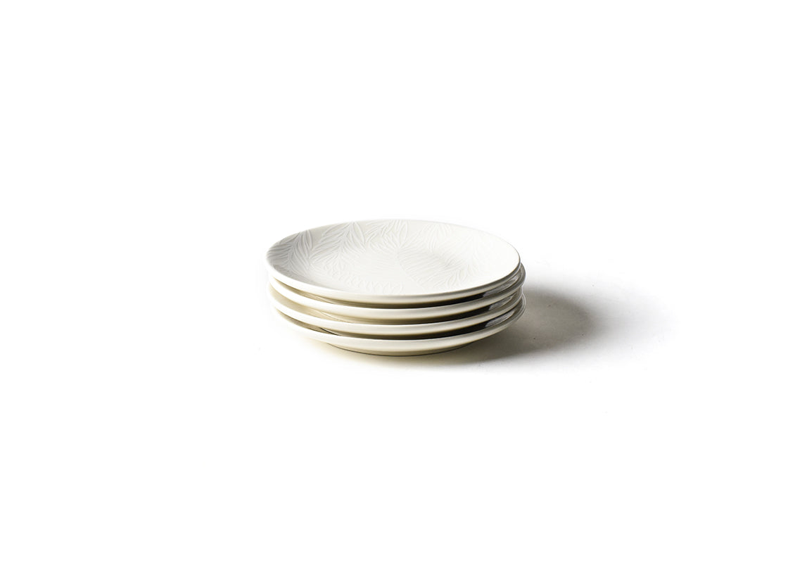 White Palm Salad Plate, Set of 4