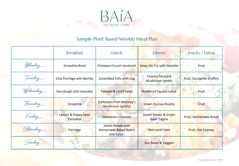 Baía Plant Based Weekly Meal Plan