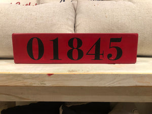 North Andover Zip Code Wooden Sign - Red and Black